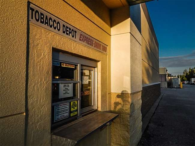 MAY 18, 2015 - Tobacco Depot Express Drive-thur window in retirement community, Sun City Center, FL