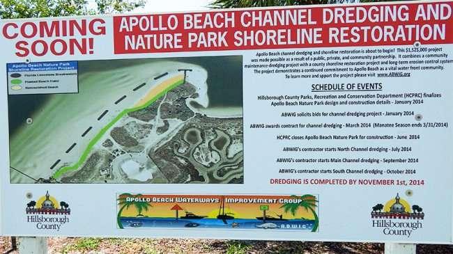 MAY 19, 2015 - Banner of Apollo Beach Shoreline Restoration Project on US 41 and Apollo Beach Blvd