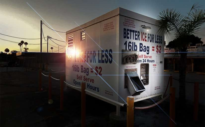 MAY 20, 2015 - Ice Machine 16LB bag for 2 dollars on US-41 Ruskin South Shore, FL