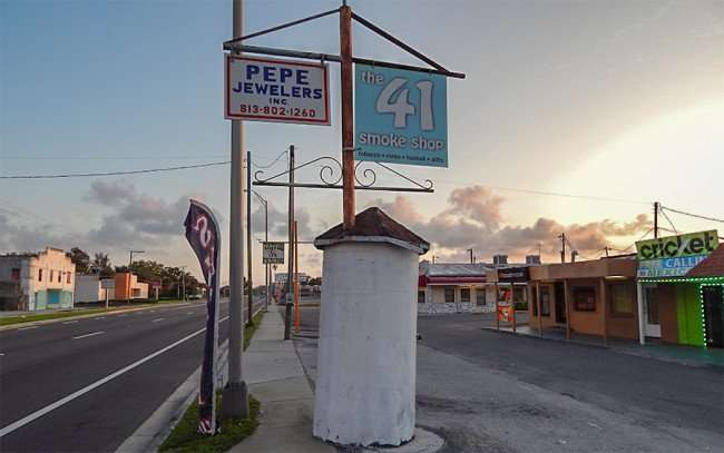 MAY 20, 2015 - The 41 Smoke Shop and Pepe Jewelers sign along Hwy 41, Ruskin South Shore, FL