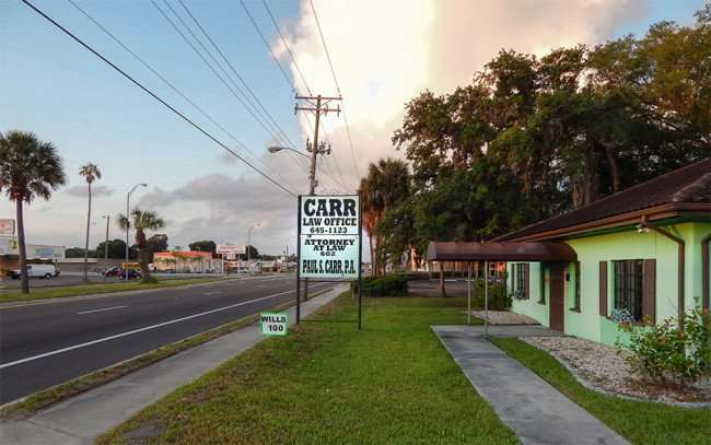 MAY 22, 2015 Carr Law Firm in green 1951 building on US 41, Ruskin, FL