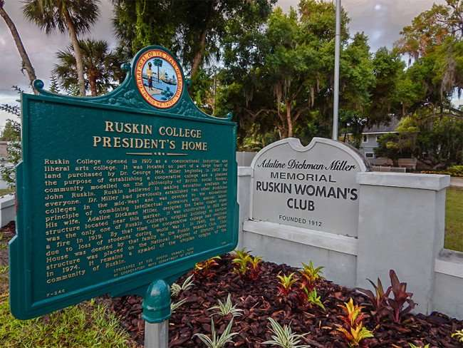 MAY 22, 2015 - Historical Marker of Ruskin College Presidents Home, where the Ruskin Womens Club holds meetings on Hwy 41, Ruskin South Shore, FL