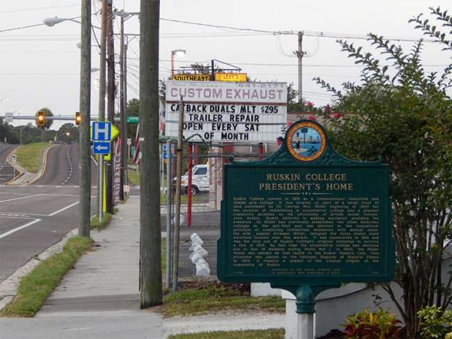 MAY 22, 2015 - Historical Marker of Ruskin College Presidents Home on Tamiami Trail on Hwy 41, Ruskin South Shore, FL
