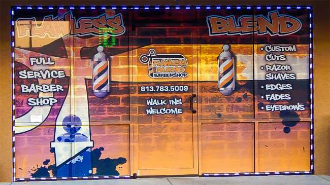 MAY 23, 2015 - Animated perforated graphics on Flawless Blend Barbershop, Riverview South Shore, FL