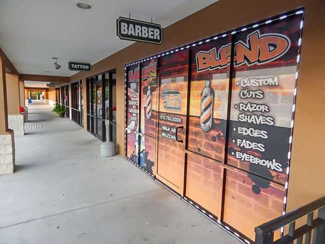 MAY 23, 2015 - Flawless Blend Barbershop with artfull perforated window graphics, Riverview, FLMAY 23, 2015 - Flawless Blend Barbershop with artfull perforated window graphics, Riverview, FL