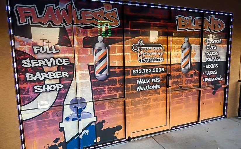 MAY 23, 2015 - Window art Flawless Blend Barbershop, Riverview South Shore, FL
