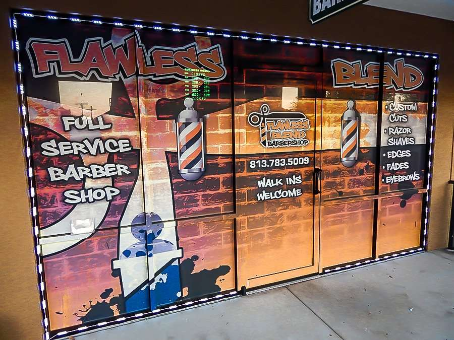 MAY 23, 2015 - Window art Flawless Blend Barbershop, Riverview South Shore, FL