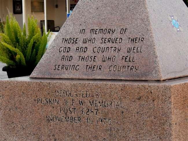 MAY 25, 2015 - Dedicated By Ruskin VFW Memorial Post 6287, November 11, 1975