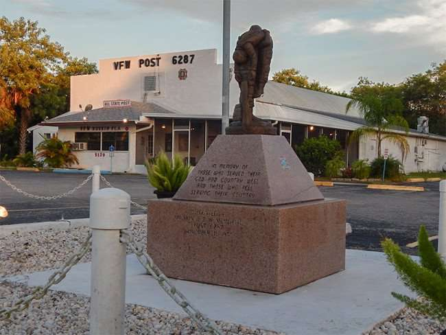"""MAY 25, 2015 - Memorial statue a the Ruskin VFW Post 6287 that reads """"In Memory Of Those Who Served Their God And Country Well And Those Who Fell Serving Their Country"""""""