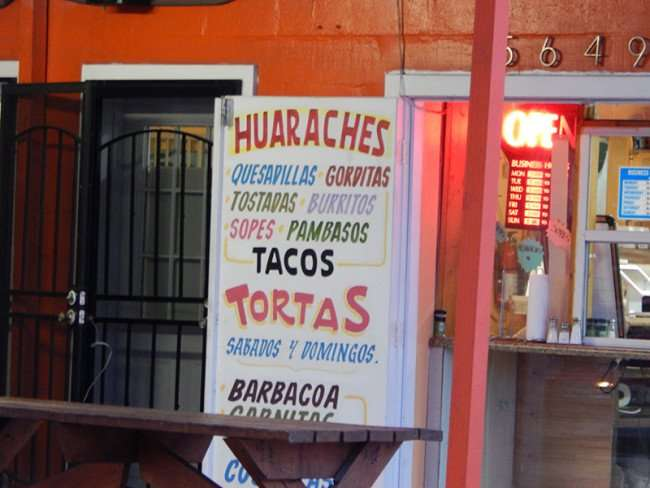 MAY 26, 2015 - Tacos, Tortas, Gorditas, Burritos, Sopes, Pambasos at Los Angeles La Casa Del Huarache authentic Mexican restaurant on 674 in Wimauma, FL