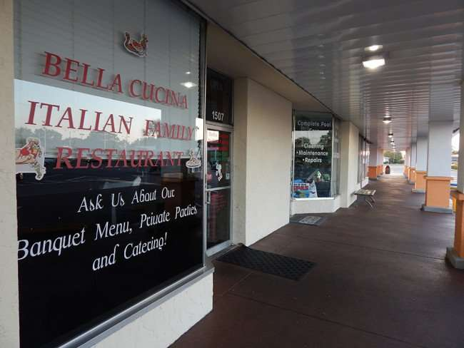MAY 7, 2015: front of Bella Cucina Family Italian Restuarant in Sun City Center Plaza/photonews247.com