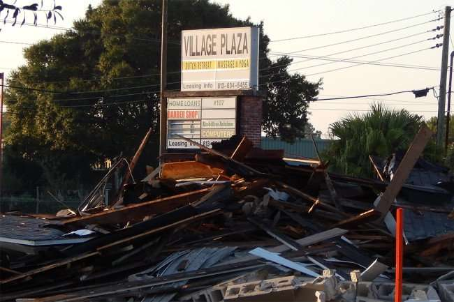 May 7, 2015 Rays Golf Carts, Annetts Beauty Salon demolished in Village Plaza, Wimauma, FL