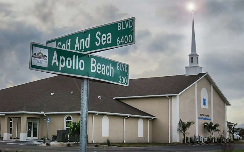 DEC 9, 2015 - New building at Bell Shoals Baptist Church on Apollo Beach Blvd with Cross/photonews247.com