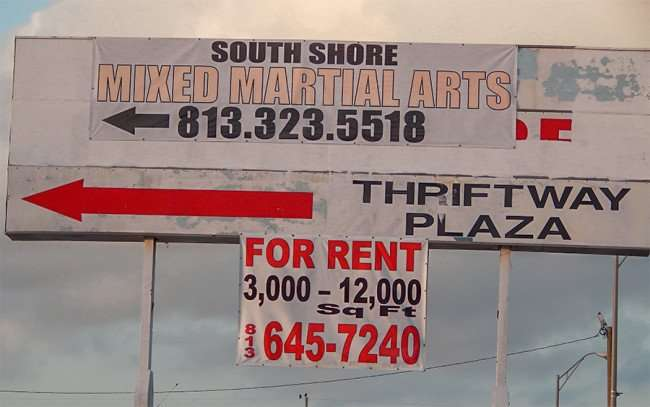Thriftway Plaza sign with South Shore Mixed Martial Arts and For Rent 3,000 - 12,000 sq ft 645-7240, Ruskin