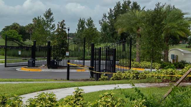 JUNE 12, 2015 - Electric gates on Chipper Drive at Verona Renaissance development, Sun City Center, FL