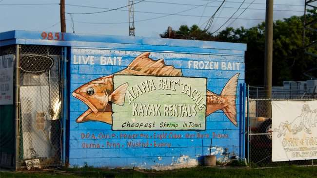 June 10, 2015 - Alafia Bait and Tackle building painted by artist with logo in Gibsonton, FL
