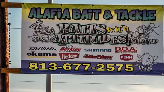 June 10, 2015 - Alafia Bait and Tackle sign Okuma, Shimano, 813 677-2575, Gibsonton