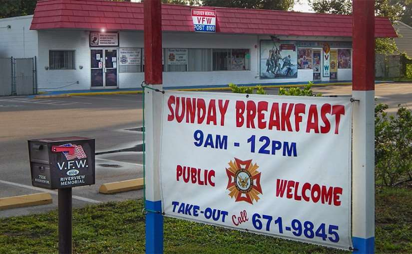 June 10, 2015 - Sunday breakfast at Riverview VFW POST 8108, public welcome, Riverview, FL