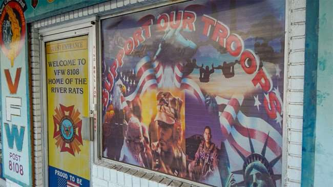 June 10, 2015 - Support Our Troops window poster shade at VFW 8108 Home Of The River Rats