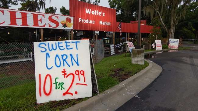 June 11, 2015 - Sweet Corn 10 for $2.99 at Wolfe's Produce Market Riverview South Shore FL