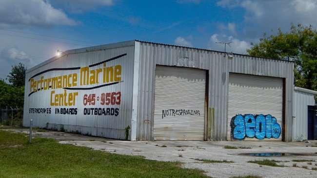June 12, 2015 - Graffiti street art painted near no trespassing sign on College Ave, Ruskin, FL