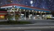 June 15, 2015 - Chevron Gas Station on starry night on US Hwy 41, Ruskin, FL