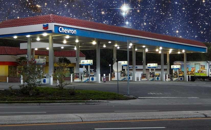 June 15, 2015 - Chevron Gas Station on starry night on US Hwy 41, Ruskin, FL