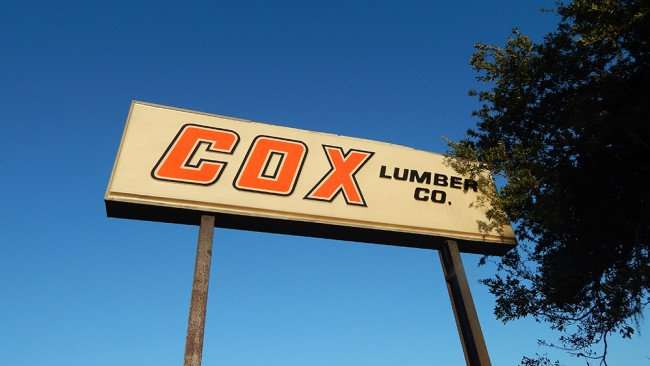 June 15, 2015 - Sign COX LUMBER CO on US 41 in Apollo Beach, FL
