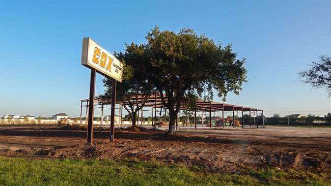 June 15, 2015 - The demolition of the Cox Lumber Company building is underway on US 41, Apollo Beach South Shore, FL