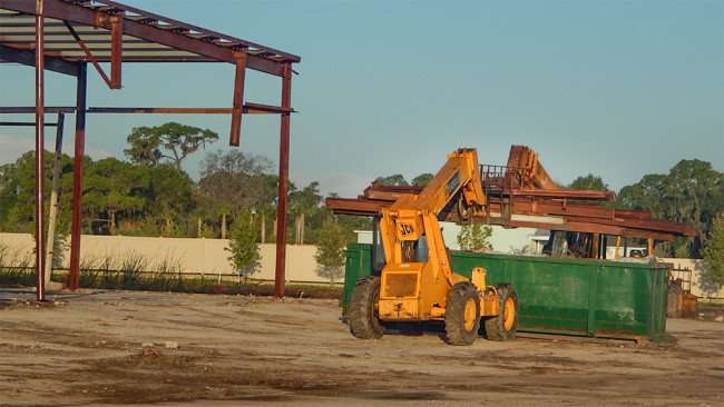 June 15, 2015 - steel building being torn down by demolition crew in Apollo Beach South Bay, FL