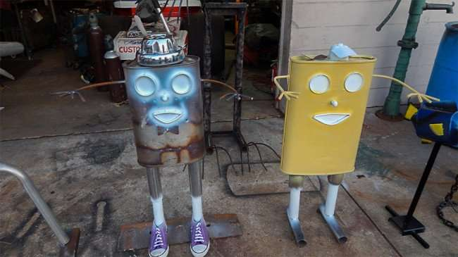 June 17, 2015 - Sponge Bobs made from old mufflers by famous metal artist Mark McElwain from Ruskin FL just north of Sarasota FL