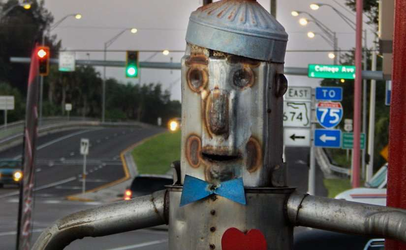 June 17, 2015 - Tin Man from Wizard of Oz finds heart in Ruskin Fl in South Shore area of Tampa Bay