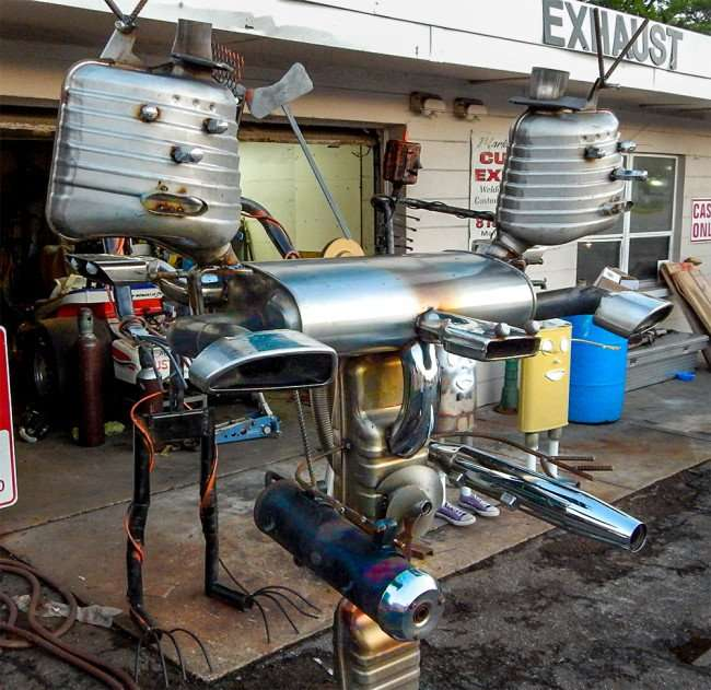 June 17, 2015 - two headed robot with machine guns created by famous metal artist Mark McElwain from Ruskin South Shore, FL