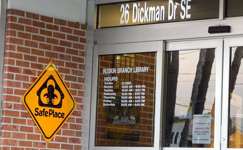 June 20, 2015 - Ruskin Branch Library is a Safe Place for women and children on US 41 and Dickman Dr, Ruskin, Florida