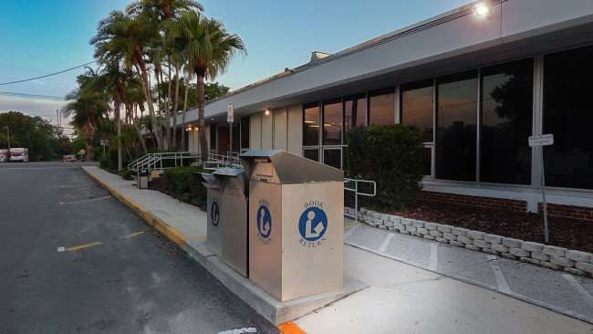 June 20, 2015 - Ruskin Branch Library with book return bends outside the building on US 41 in Ruskin, FL