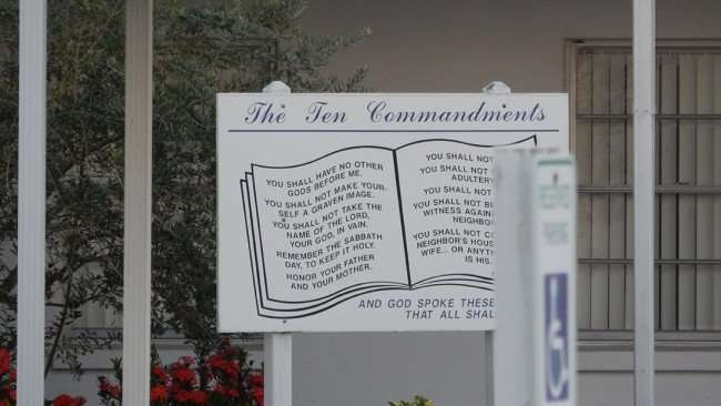 June 20, 2015 - Ten Commandments displayed at Northside Baptist Churh on US Hwy 41 (Tamiami Trail) in Ruskin SouthShore, FL