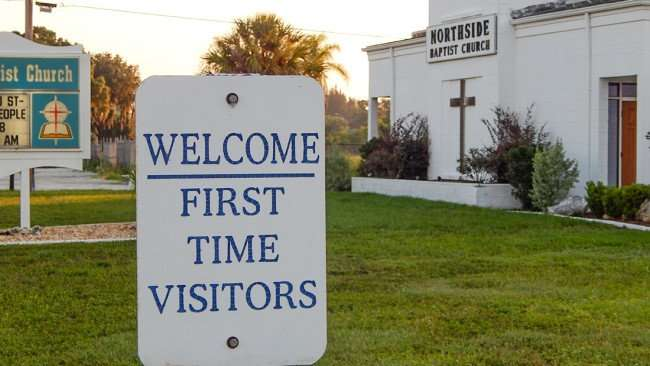 June 20, 2015 - Welcome First Time Visitor signs at Northside Baptist Church on US Hwy 41 (Tamiami Trail) in Ruskin SouthShore, FL
