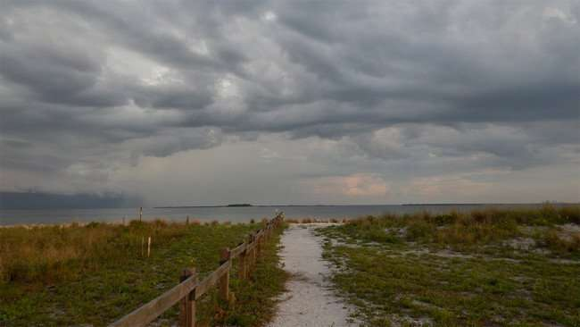 June 22, 2015 - Rock walkway to shoreline at Apollo Beach Nature Park opened for Summer 2015, SouthShore, FL