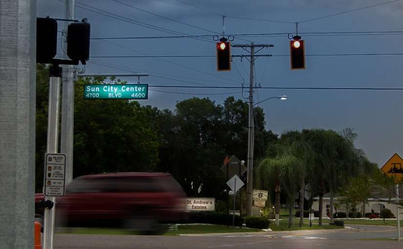 June 25, 2015 - Light flashing at Sun City Center Blvd and Stoneham Drive in St Andrews Association