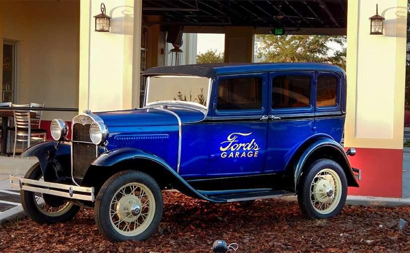 June 26, 2015 - blue antique Ford at Ford's Garage burger and craft beer bar, Brandon, FL