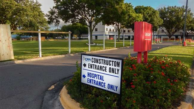 June 27, 2015 - CPPI Construction placed sign that points to hospital and construction site of Patient Tower at South Bay Hospital