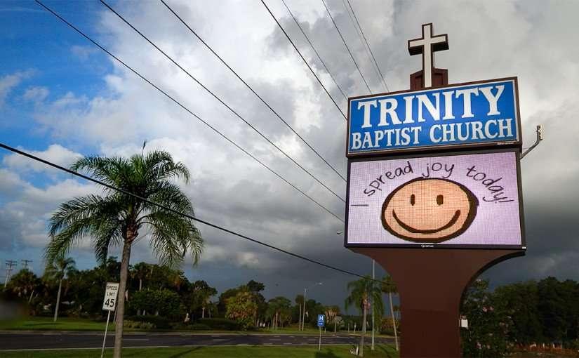 June 27, 2015 - Trinity Baptist Church sign along 674 read Spread Joy Today Sun City Center, FL