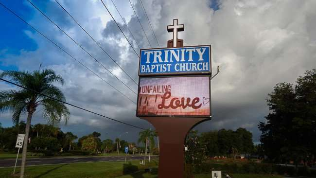 June 27, 2015 - Trinity Baptist Church sign reads Unfailing Love in Sun City Center SouthShore, FL