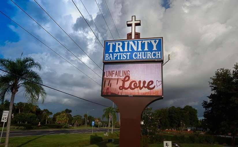 June 27, 2015 - Trinity Baptist Church sign reads Unfailing Love in Sun City Center SouthShore, FL