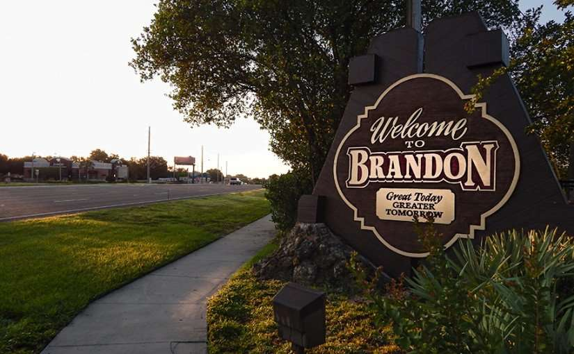 June 7, 2015 - Brandon Welcome sign on Brand Blvd (SR 60), Brandon, FL