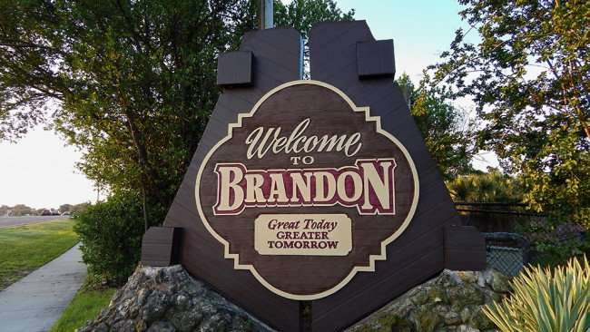 June 7, 2015 - Close up of Welcome To Brandon sign along SR 60 near Westfield Brandon Mall