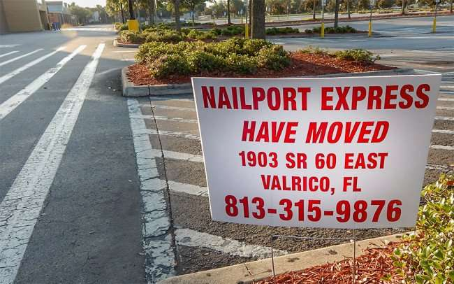 June 7, 2015 -Nailport Express moved from Walmart Brandon to 1903 SR 60 East Valrico, FL (813) 315-9876