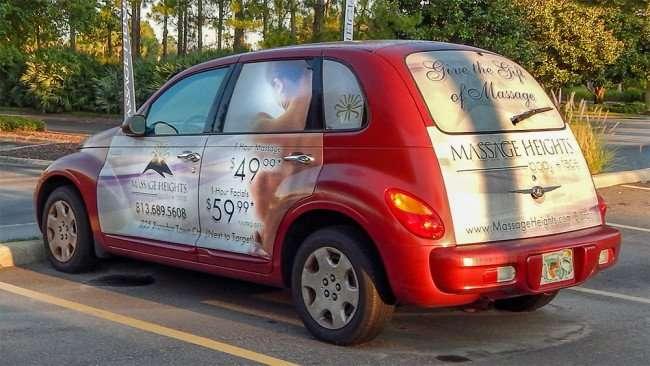 June 7, 2015 - Red car with Message Heights Brandon Town Center advertisement, Brandon, FL