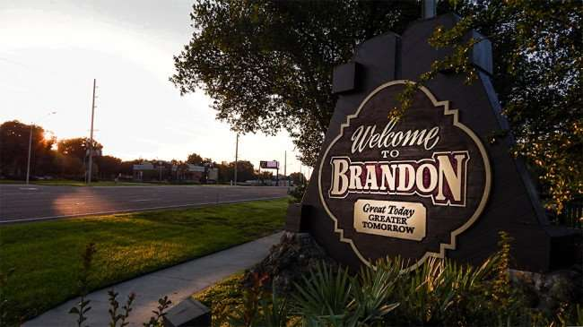 June 7, 2015 - Welcome To Brandon sign along SR 60 near Westfield Brandon Mall (slight highlight)
