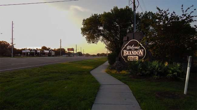 June 7, 2015 - Welcome To Brandon sign early morning along SR 60 near Westfield Brandon Mall (slight highlight)